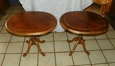 Pair of Oval Cherry And Burl Elm Inlaid Top End Tables / Side Tables  (T321)