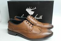 GOODWIN SMITH Men's Brown Leather Aubyn Wing Tip Derby Shoes EU40 UK7 NEW