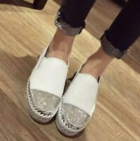 Womens College Shoes Rhinestone Loafer Sneakers High Heels Comfort Round Toe