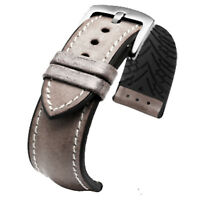 New 20mm Gray Brown Leather Watch Strap Black Rubber Pad Watch band Buckle