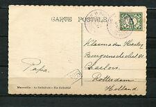 Postagent Batavia - Rotterdam 1925 in violett auf AK Marseille  (SP)