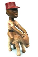 Art Africain Ethnique Tribal - Superbe Statue Cavalier en Bois Baoulé - 42 Cms