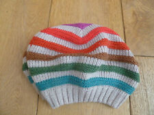 MONSOON ACCESSORIZE WOOL ANGORA BLEND STRIPED BERET HAT MULTICOLOURED TEXTURED