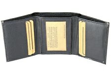 New Mens Trifold Grain Leather Black Wallet Credit Card Window ID Holder Classic