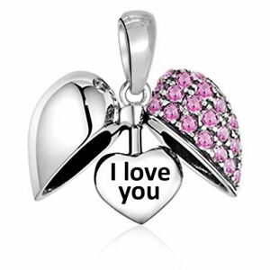 'I Love You' Heart Charm Pink Crystal Bead Sterling Silver S925 - Christmas Gift