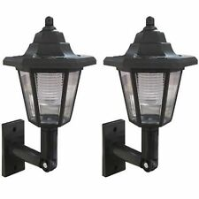 NEW 2 X LED SOLAR POWERED WALL LANTERN LED WALL LIGHT LAMP OUTDOOR GARDEN PATIO
