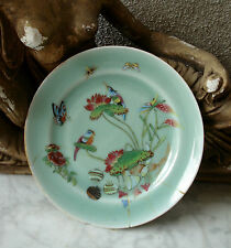 Antique 19thC CHINESE FAMILLE ROSE Celadon PLATE Birds Insect Grasshopper1880 #4