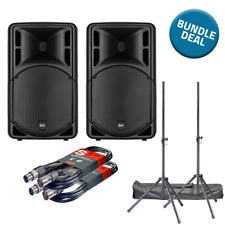 """2x RCF ART 315-A Mk4 & PA Stands & Cables 1600W 15"""" 2-Way Active Powered DJ"""