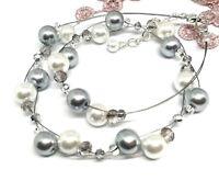 Halskette weiss grau geflochten Glitzer Materialmix Glasperlen NEU oasederperlen