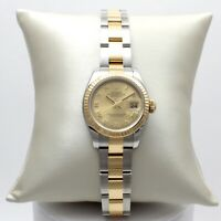 18K Gold & SS Ladies Rolex Datejust Roman Dial Watch 26mm In Box