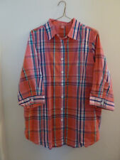 Woman Within poly/cotton pink plaid-collar-button front-3/4sl-NWOT-size 14/16
