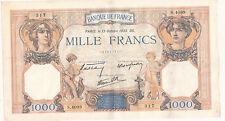Billet banque 1000 Frs CERES ET MERCURE 13-10-1938 DG S.4099 état voir scan