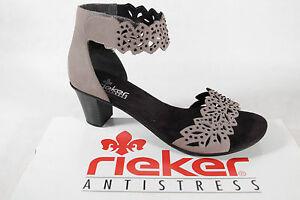 Rieker Femmes Sandales Sandalettes Gris Kv Neuf