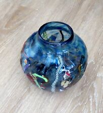 "Beautiful Hand Blown Molten Art Glass 7"" Round Blue Vase - Signed on Base"