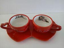 """Neuf Set de 2 tasses DOOKIE VACHE """"à la folie!"""" duo café love amour cadeau anniv"""