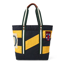 Polo Ralph Lauren Rugby Collegiate Canvas Leather Tote Bag New $150