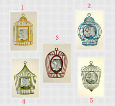 5 x Vintage Distressed Painted Wall Hanging Metal Bird Cage Design Photo Frame