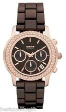 DKNY BROWN CERAMIC+ROSE GOLD TONE S/STEEL+CHRONO,DATE CRYSTAL WATCH-NY8534+BOX