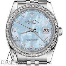 Ladies Rolex 26mm Datejust Baby Blue Mother Of Pearl Roman Numeral Dial Watch