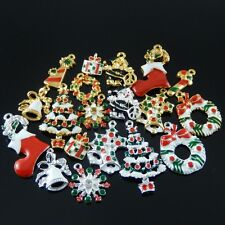 Xmas Jewelry Charms Pine tree Gift Box Jingle Bells Snowflake 15pcs assorted lot