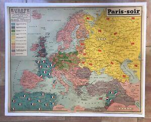 WORLD WAR II - 1940 EUROPE LARGE ANTIQUE MAP XXe CENTURY