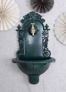 Historical wall fountain green garden fountain with brass tap water dispenser