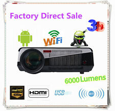 1080P 6000LM HD Wifi LED Video Projector Home Theater Cinema HDMI RJ45 VGA