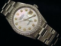 Rolex Datejust Mens Stainless Steel Watch Oyster White Mother of Pearl Diamond