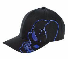 Black Blue Skull Skateboard Biker Halloween Costume Gothic Goth Baseball Hat Cap