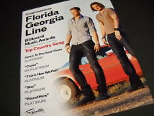 FLORIDA GEORGIA LINE has TOP COUNTRY SONG 2014 PROMO POSTER AD mint condition