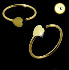 14ct Gold Heart Design Open Circular Nose Tragus Helix, Snug Captive Ring 22g