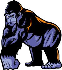"Cartoon Angry Gorilla Mascot Wild Animal Car Bumper Sticker Decal 5"" x 5"""