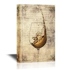 wall26 - Canvas - Wine Splash in Glass on Vintage Letter Background - 24x36