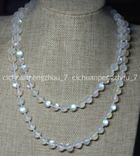"""Natural 10mm White Gleamy Rainbow Moonstone Round Gems Beads Necklaces 16-64"""""""