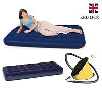 INFLATABLE AIR MATTRESS Bed Flocked Camping Guest Single & Pump Relaxing Gift UK