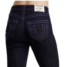 True Religion Women's Curvy Fit Big T Ankle Jeans w/ Plum Stitch in Body Rinse