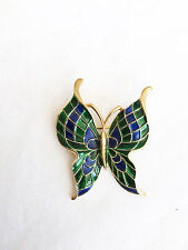 Vintage CROWN TRIFARI Blue & Green Mosaic Enamel Butterfly Pin Brooch