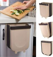 Wall Mounted Folding Trash Can Hanging Waste Bin Basket for Kitchen Cabinet Door