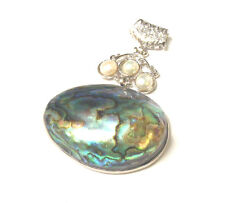 BWT- Lg Genuine NewZealand Paua Abalone Pendant only with Freshwater Pearl SG398