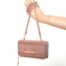 Double Portefeuille glycine rose doré femme mini sac à main simili cuir zip G90