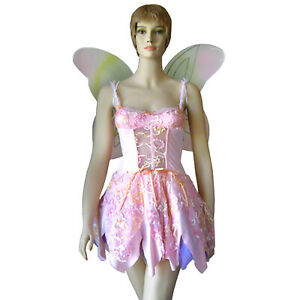 Role-play Pink Fairy Pixie Halloween Costume + Wings Size Medium