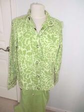Ladies Medium - 14 Coldwater Creek Green Floral Jacket & Matching Pants - New