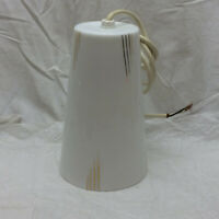 Vintage Light Fixture Glass White & Gold Shade