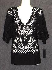 LAURA MAX Black Crochet Print Tunic Top Blouse SZ M NEW