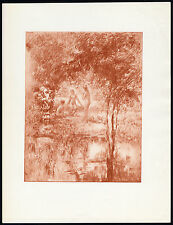 Original Print-WOMEN-FEMALE-NUDE-NAKED-FOREST-POND-Henri le Riche-1940