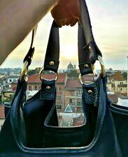 Italian Handmade Black Leather and Suede shoulder Bag