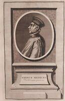 1723 Van der Aa Ritratto Cosimo di Giovanni de Medici il Vecchio Cosmus Medices