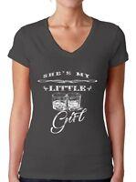 She's My Little Whiskey Girl V-NECK WOMEN T-Shirt Drink Party Drunk Ladies Shirt