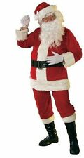 Mens Luxury Velour Santa Suit Father Christmas 7 PC Fancy Dress Costume Outfit