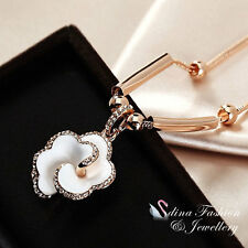 18K Rose Gold Plated Simulated Agate & Diamond Stunning White Rose Necklace